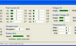 Bild 4: Screenshot der MBScope Software im Feldbetrieb. Die meisten Betriebsparameter können überwacht werden: Drehzahl (hier läuft der Motor mit 35.000 min-1), Schwingungspegel pro Achse (weniger als 6 μm), Schwingungen aufgrund von Unwucht, Längenausdehnung der Welle, Temperatur, Strom und Spannung.