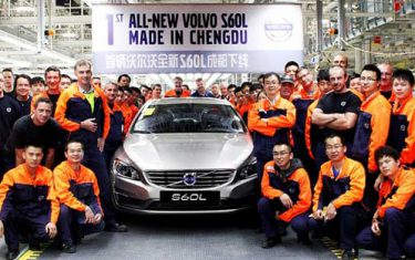 Volvo workers at the Chengdu production plant in China.