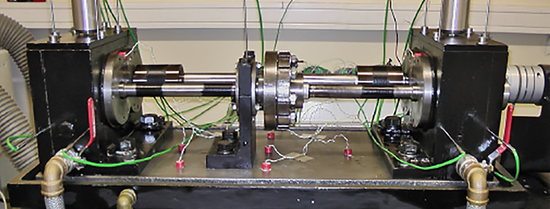 The FZG test rig used in gearbox simulation.