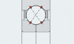 Fig. 3: Theoretical load transmission in a four-point contact ball bearing.