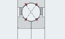 Fig. 3: Trasmissione teorica del carico in un cuscinetto a sfere a quattro punti di contatto.