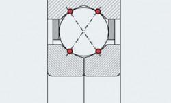 Рис. 3: Распределение нагрузки в шарикоподшипнике с четырёхточечным контактом.