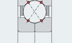 Fig. 3: Teoretisk lastöverföring i ett fyrpunktskontaktkullager.