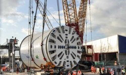 The cutting head of the tunnel boring machine, used for drilling the Lee Tunnel.