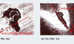 Fig. 4. Résultats expérimentaux relatifs à la propagation de l'écaillage à partir d'une indentation artificielle au centre du chemin de roulement de la bague intérieure d'un roulement à rouleaux coniques. L'ellipse représente la taille approximative du contact hertzien.