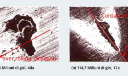 Fig. 4: Risultati sperimentali della propagazione della scheggiatura a partire da un'impronta artificialmente impressa al centro della pista dell'anello interno di un cuscinetto a rulli conici. L'ellisse indica le dimensioni approssimative del contatto hertziano.