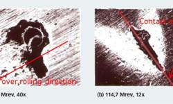 Fig. 4: Resultados experimentales de la propagación del desconchado desde una indentación artificial en el centro del camino de rodadura del aro interior de un rodamiento de rodillos cónicos. La elipse muestra el tamaño aproximado del contacto herciano.