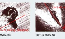 Fig. 4: Experimentella resultat av skalningsutbredning från en artificiell fördjupning i centrum av innerringens löpbana på ett koniskt rullager. Ellipsen visar den approximerade storleken av den Hertzska kontakten.