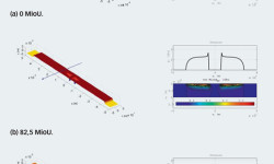 Bild 6: Modellprognosen für die von der ursprünglichen Eindrückung ausgehende und mit der Umdrehungszahl fortschreitende Entwicklung von Ausbrüchen, Drücken und unterhalb der Oberfläche vorhandenen Spannungen. (Versuchsbedingungen: Tabelle 1.)
