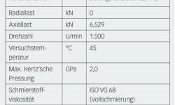 Tabelle 1: Lagerdaten, Betriebsbedingungen und Geometrie der Eindrückungen bei den Versuchen.