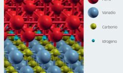 Fig. 3: Atomi di idrogeno presenti al confine tra il ferro e un precipitato composto da vanadio e carbonio. Immagine prodotta con il software XCrySDen.