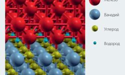 Рис. 3: Атомы водорода на границе между железом и отложениями, состоящими из ванадия и углерода. Изображение получено с помощью программы XCrySDen.