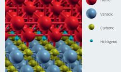 Fig. 3: Átomos de hidrógeno presentes en el límite entre hierro y un precipitado compuesto de vanadio y carbono. Imagen producida con el software XCrySDen.