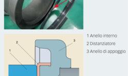 Fig. 3: Unità TBU a rulli conici munita di uno speciale anello distanziatore in polimero inserito tra la facciata laterale dell'anello interno e l'anello di appoggio sull'assile per evitare la ruggine di contatto.