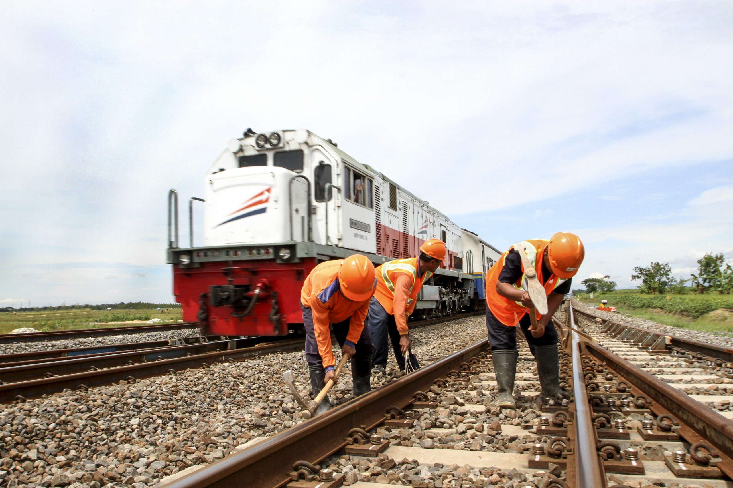 Maintenance work on Indonesia's railway tracks.