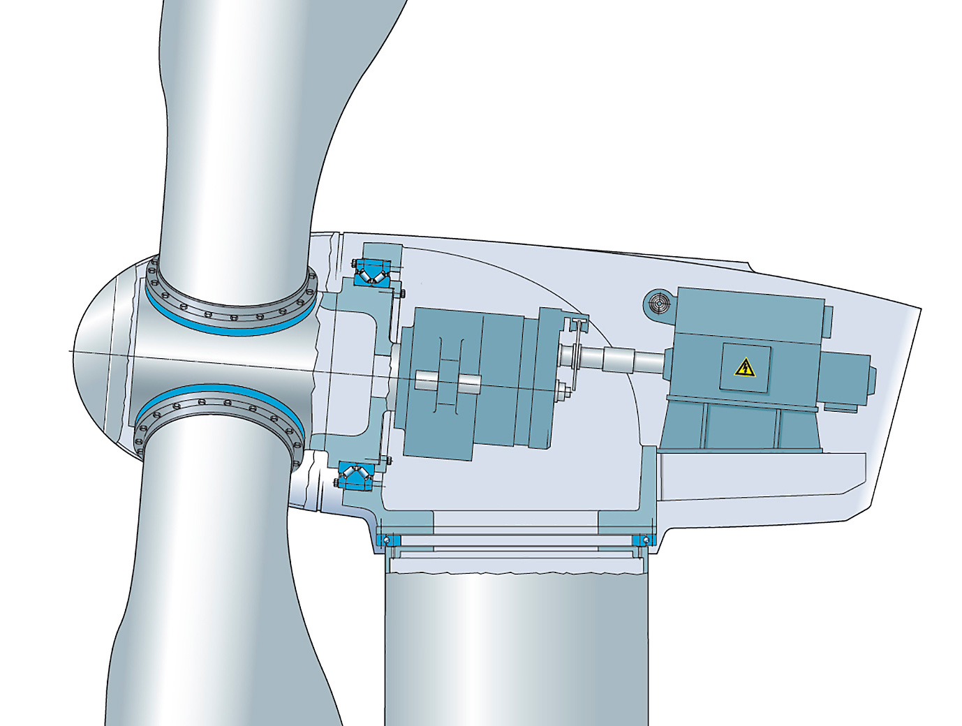 Fig. 7: Bearing arrangement with a semi-integrated SKF Nautilus bearing, resulting in a compact drivetrain.