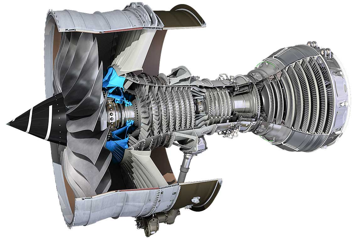 Cross section of a Rolls-Royce Trent XWB gas turbine engine.