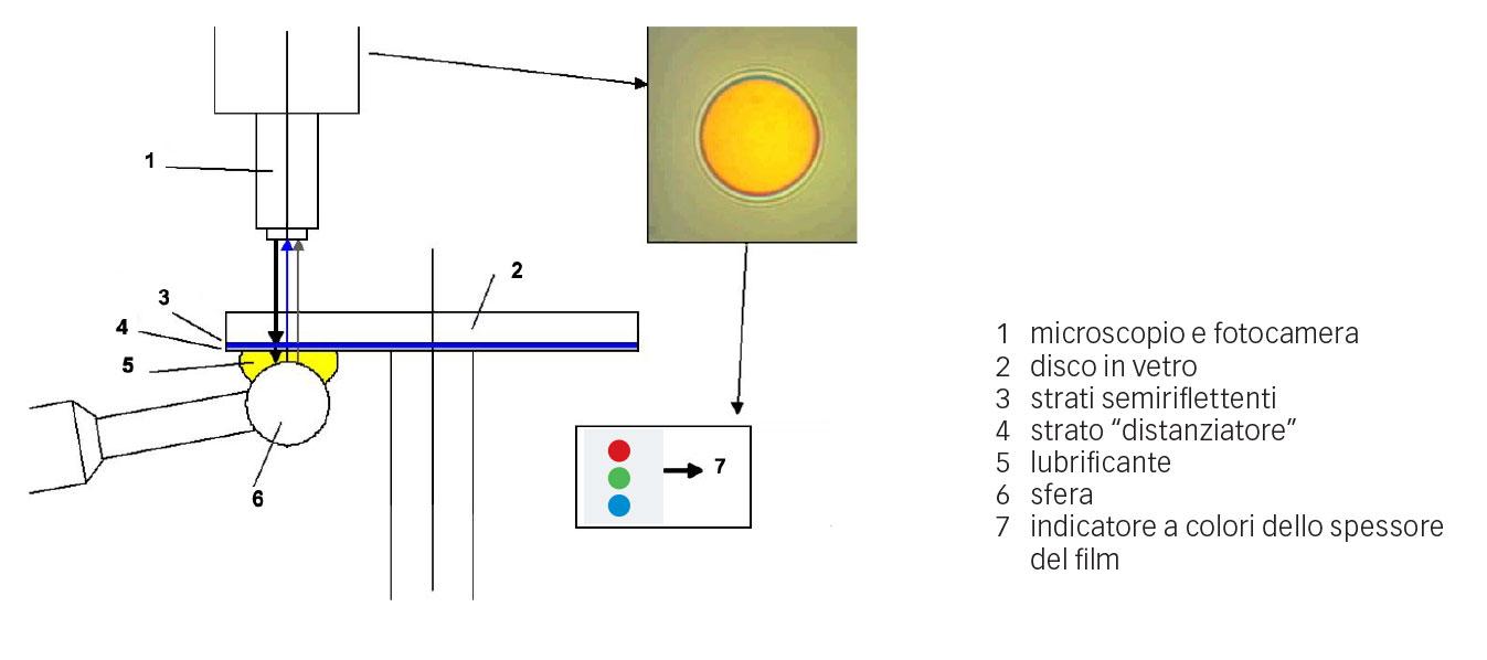 Fig. 3: Disposizione dei particolari per la misurazione dello spessore del film nel tribometro SKF WAM-5.