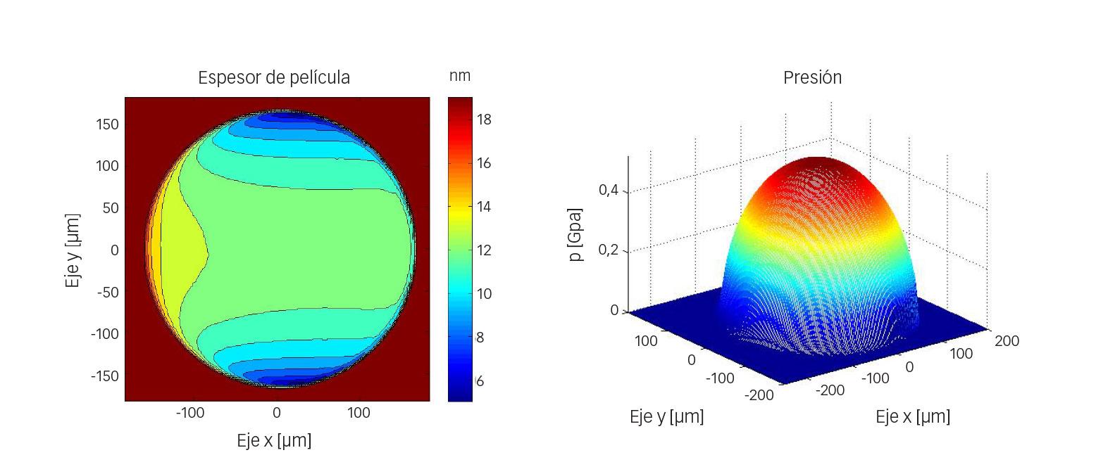 Fig. 6: Ejemplo de un cálculo numérico de espesor y presión de película para configuración de bola-disco