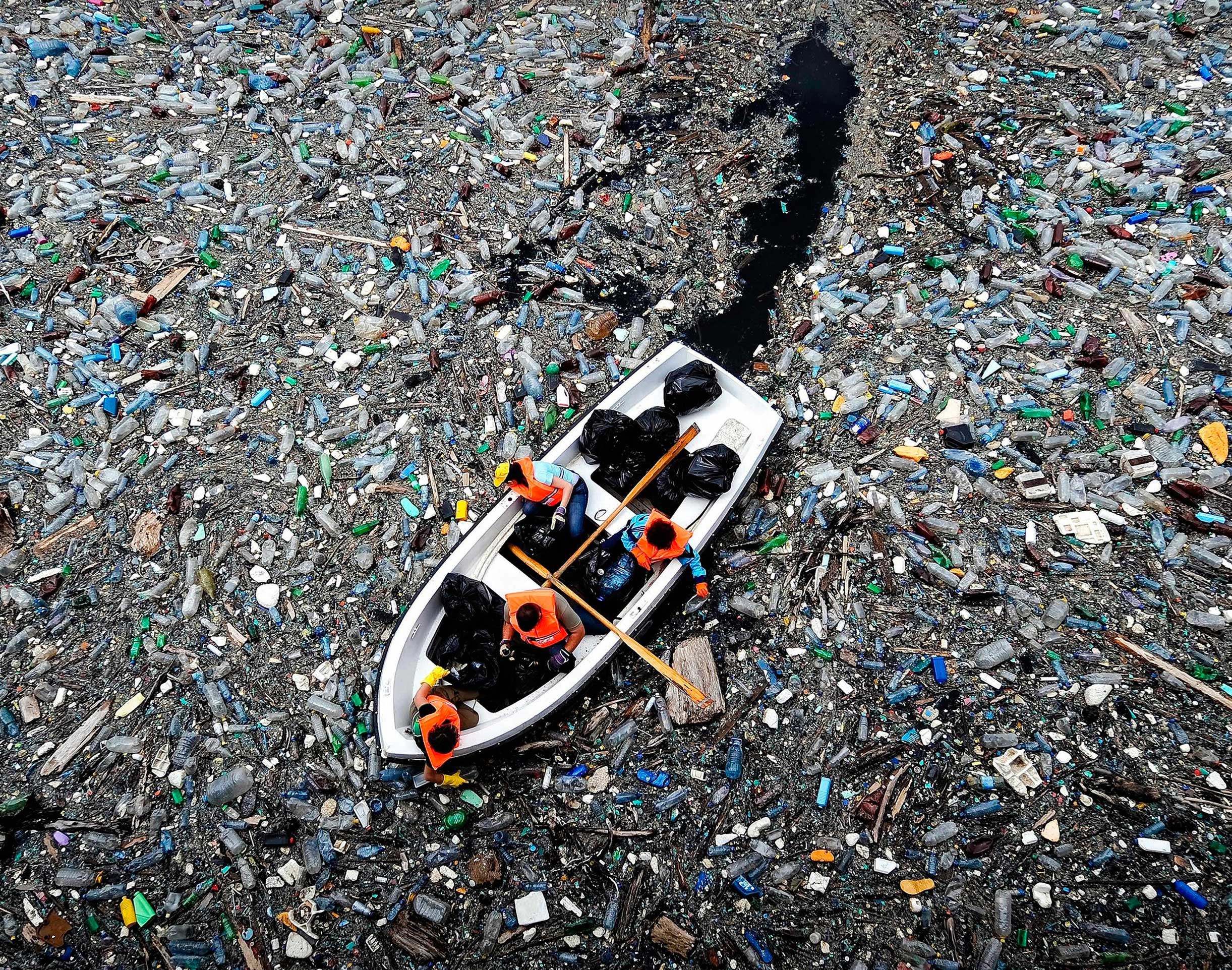 Plastic floating around on the water surface is a possible source for crude oil recirculation.
