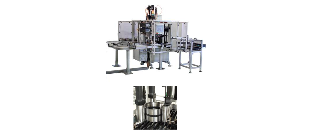 Fig. 4: (Top) In-line inspection machine for automatic ultrasonic testing, (below) close-up showing testing of railway wheel and axlebox bearings.