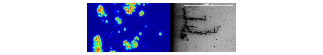 Fig. 5: C-scan image (left) of a bearing raceway representing ultrasonic energy reflected from subsurface defects. After sectioning at the subsurface cracks, ultrasound testing can be correlated with results in optical microscopy (right).