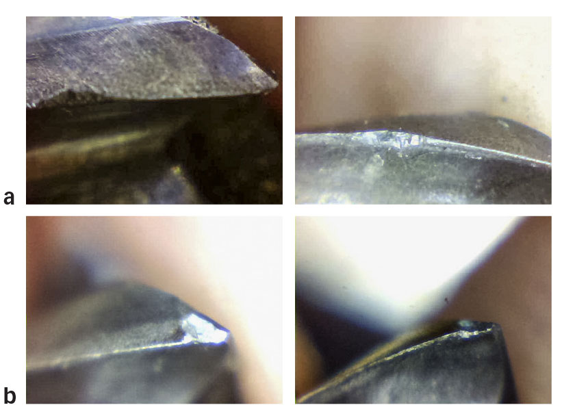 End mill burst images for machining tests with internal MQL as lubrication method