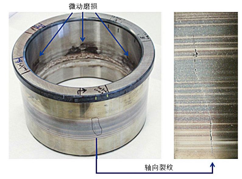 图8:过早失效的轴承,内圈滚道有轴向裂纹。