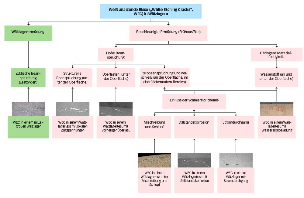 """Bild 6: Weiß anätzende Risse (""""White Etching Cracks"""") in Wälzlagern (vereinfachte Darstellung)."""