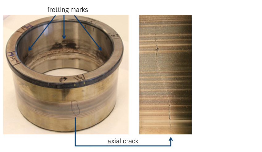 Fig. 8: Prematurely failed bearing with axial crack on the inner ring raceway.