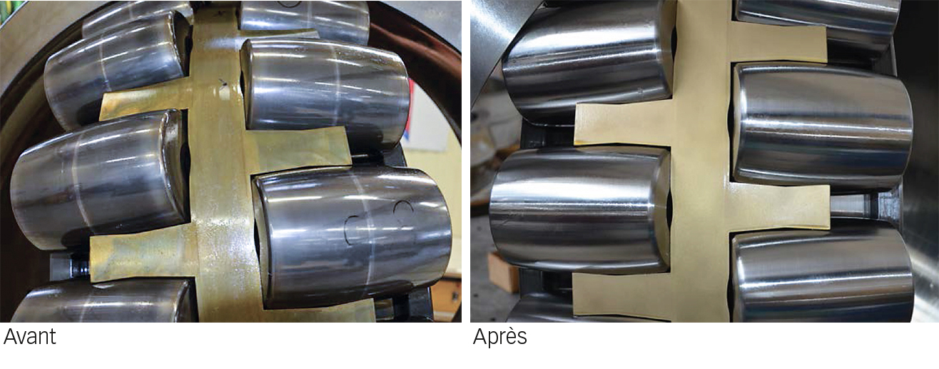 Fig. 3. Roulement à rotule sur rouleaux de grandes dimensions : avant et après réparation.