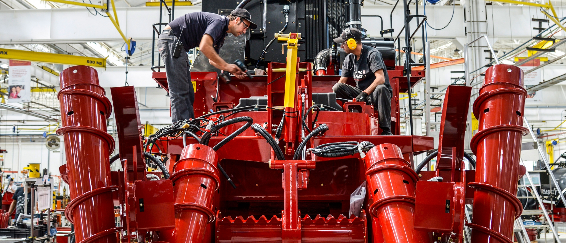 Sugar cane harvesters at CNH's production plant in Piracicaba, Brazil.
