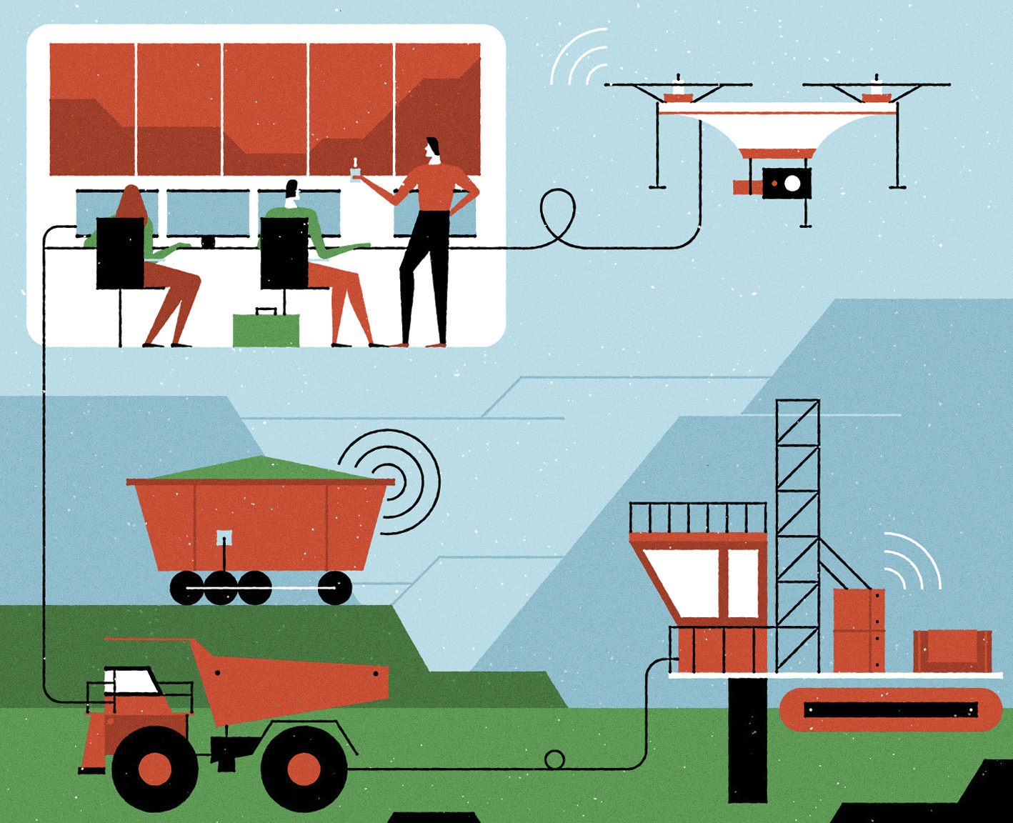 The Industrial Internet of Things centers on the use of big data, connected sensors, autonomous machines and artificial intelligence.