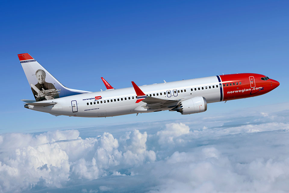 Norwegian-operated Boeing 737 MAX equipped with LEAP engines.