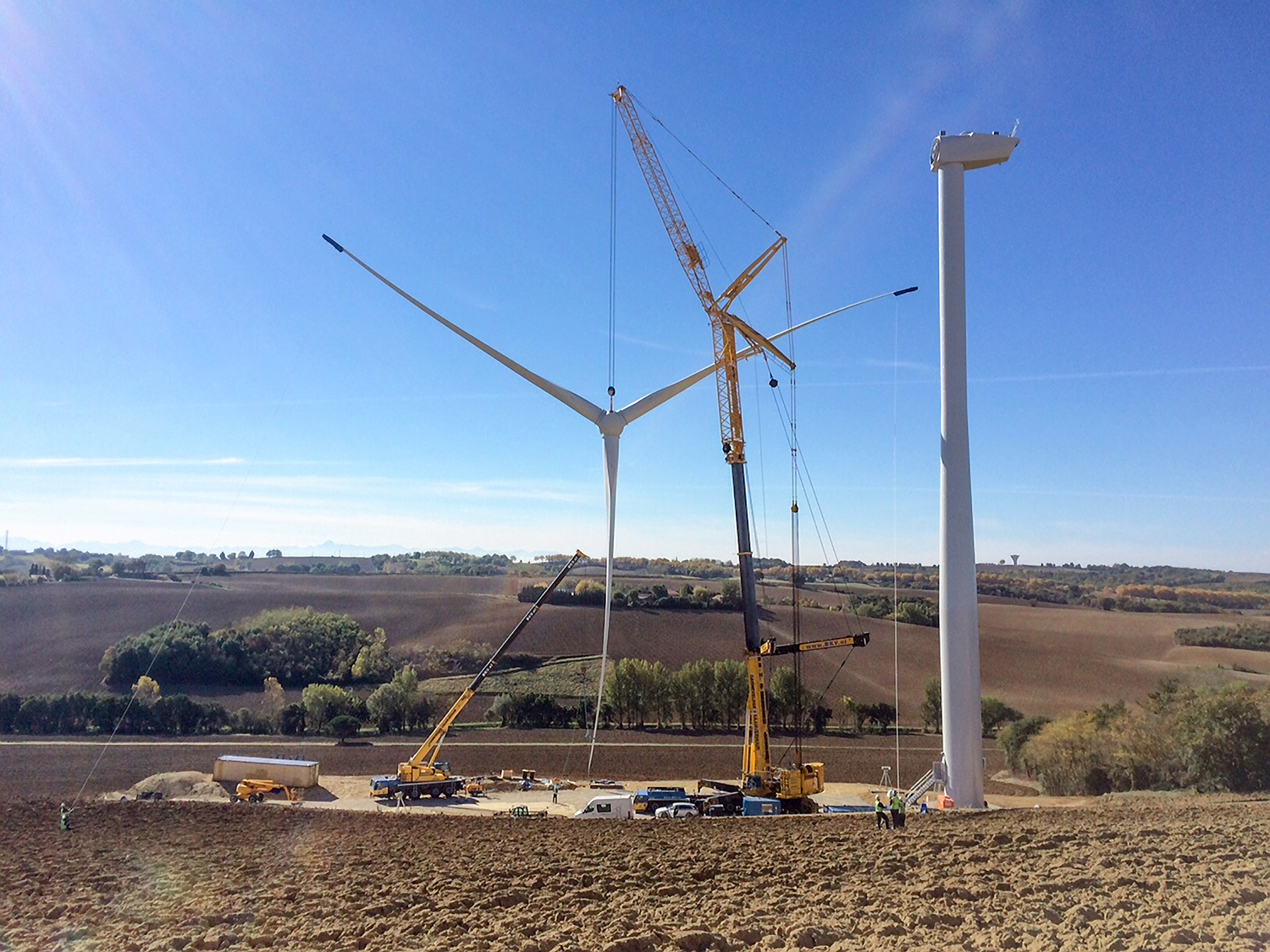 Wind turbine under construction at the Boralex wind farm at Calmont in the Occitanie region in France