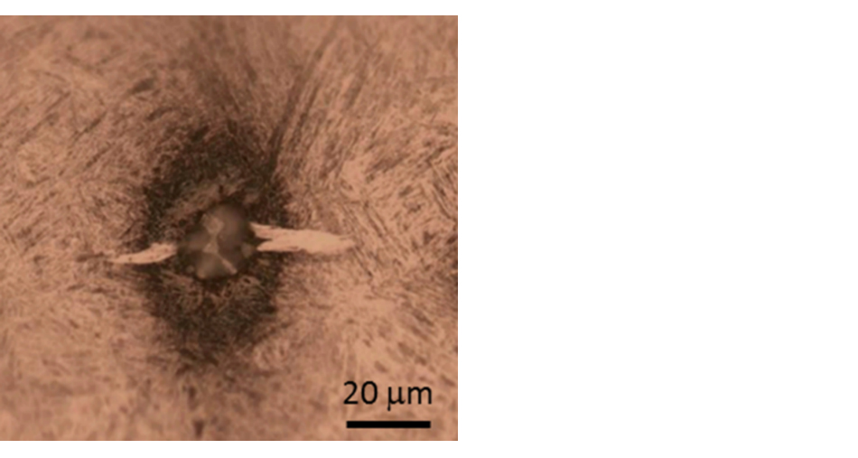 "Fig. 1: Fatigue damage in the form of a ""butterfly"" (light optical microscopy image) initiated from an inclusion in the subsurface of a rolling bearing."