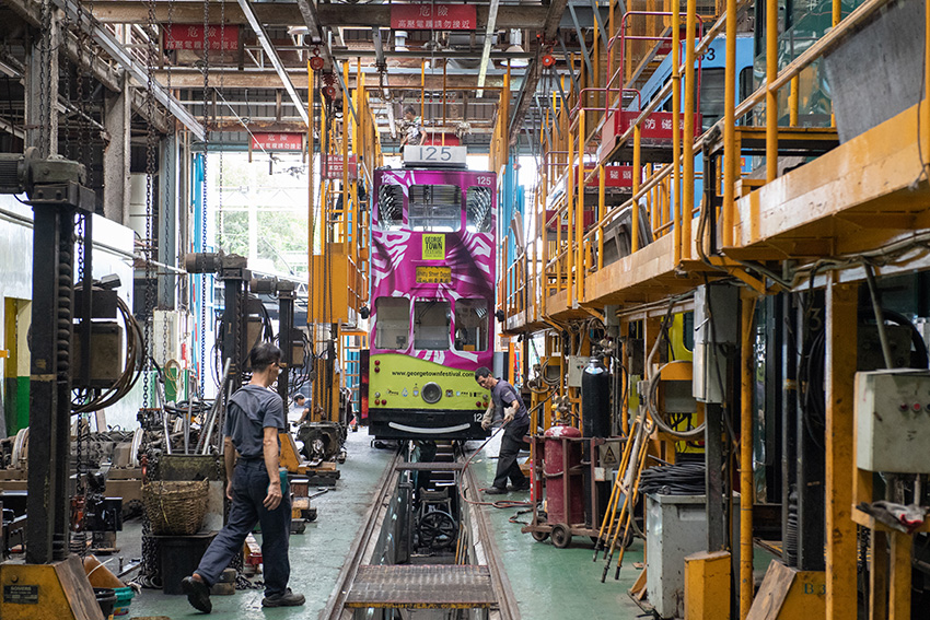 A 'ding-ding' tram at Hong Kong Tramways