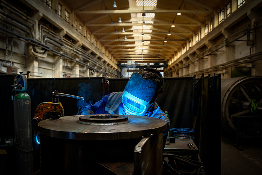 Vladim'r Dockal performs welding at the Papcel production plant in Litovel, Czech Republic.