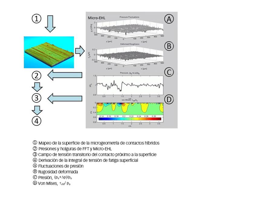 Fig. 5: Organigrama esquemático de Micro-EHL avanzado para la evaluación de daños de tensiones de fatiga superficial.