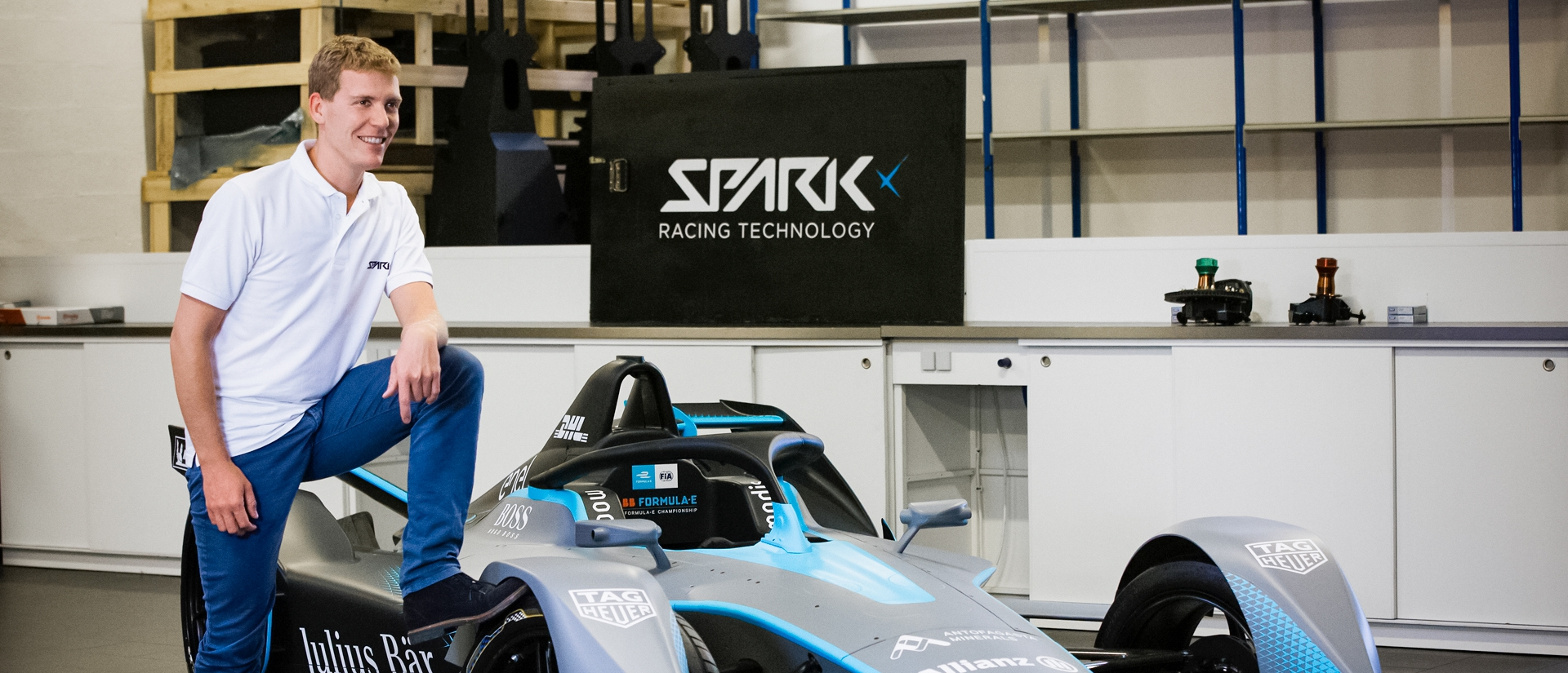 Théophile Gouzin, director of SRT's design office, in front of the Gen2 Formula E car at the SRT plant in Tigery, France.