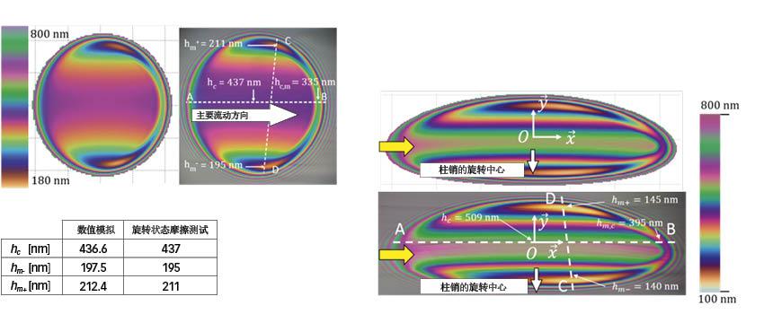 图2:通过滚动、滑动和旋转的润滑接触实验(此处为膜厚度测量结果)来验证数值模拟仿真的情况。