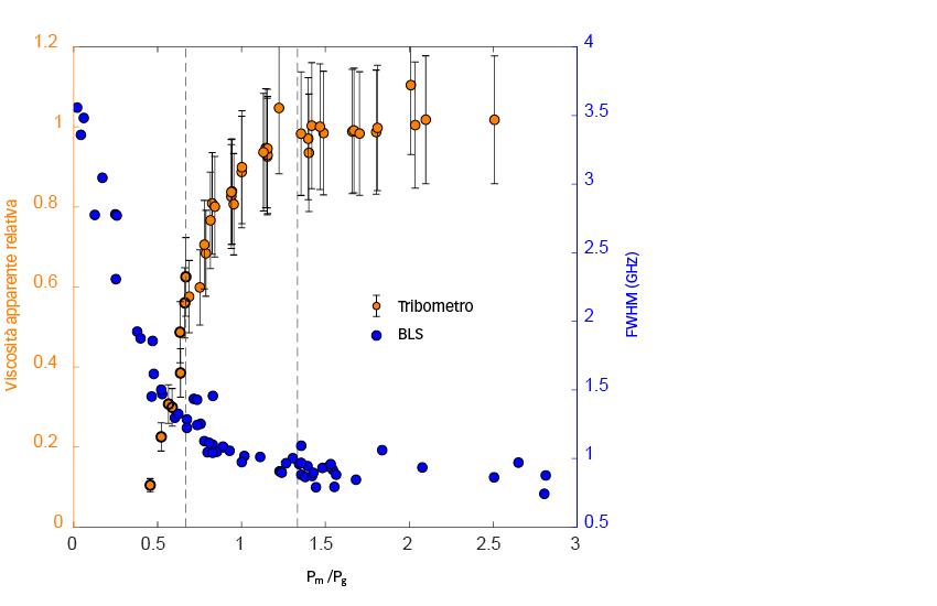Viscosità apparente relativa ottenuta mediante test di attrito e ampiezza degli spettri BLS a riposo rispetto alla pressione media di contatto Pm normalizzata dalla pressione di transizione del lubrificante Pg.