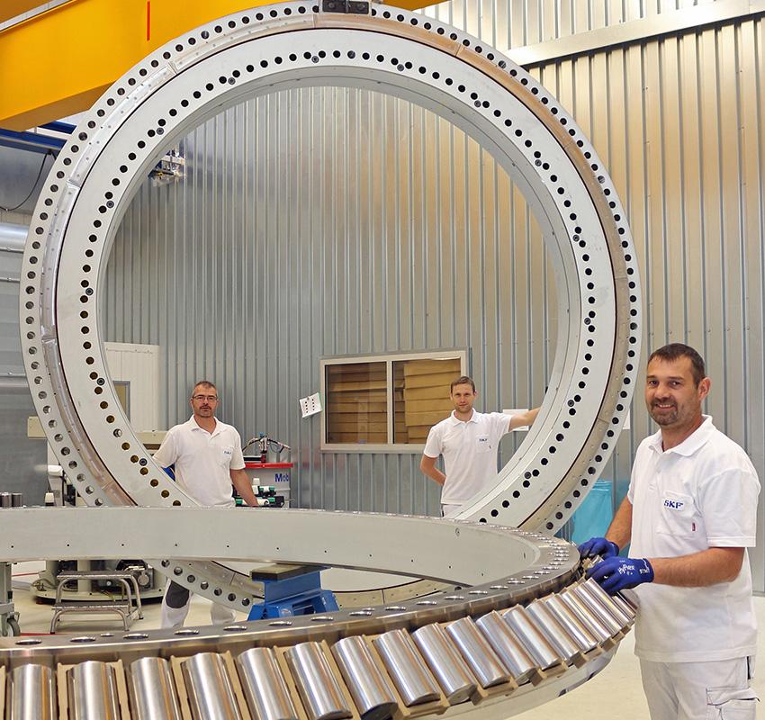 SKF Nautilus rolling bearing being prepared for testing.