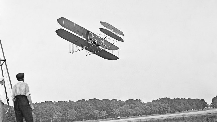 Fig. 1: The first motorized aircraft flight ever was made by the Wright Brothers on 17 December 1903.