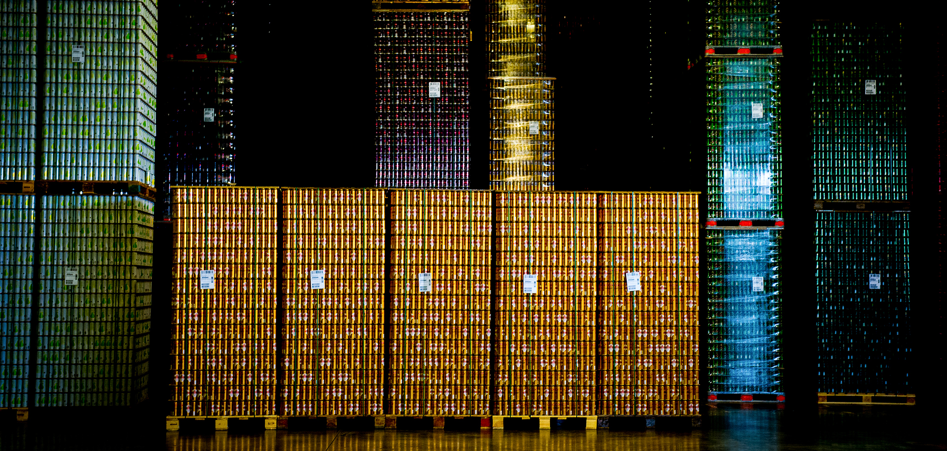 Cans ready for shipment at the Malmö warehouse of Ball Corporation.
