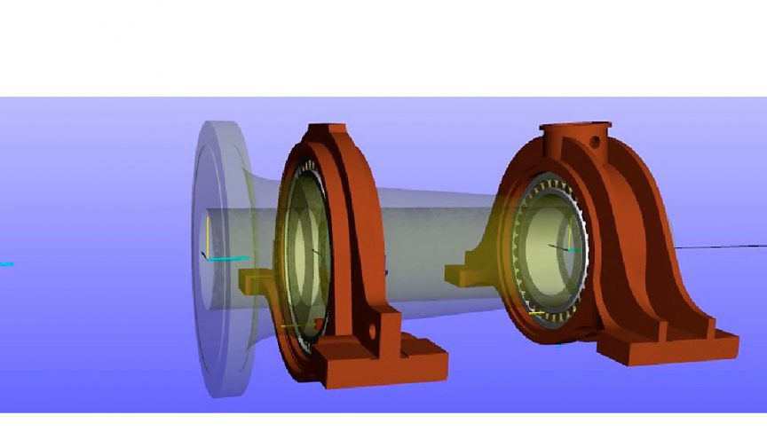 """图3:在7兆瓦项目中,分体式轴承座中的一个C39/1700 CARB轴承和一个240/1320球面滚子轴承的""""柔性""""SKF Bearing Beacon计算模型。"""
