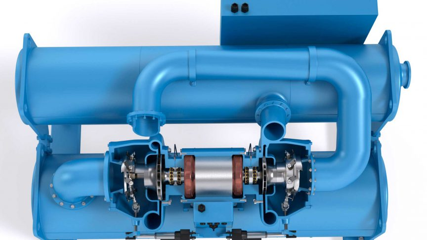Fig. 1: Centrifugal compressor chiller with two rotating impellers.