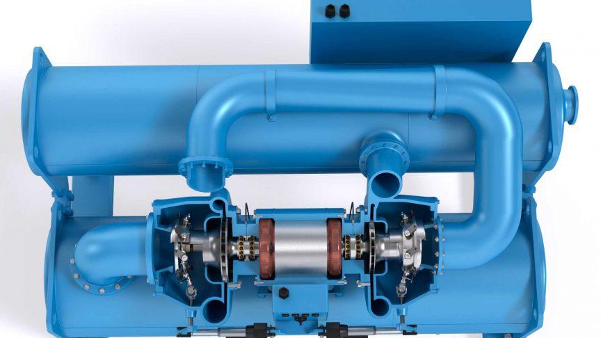 Obr. 1: Chladič s odstředivým kompresorem se dvěma oběžnými koly.