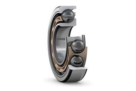 Fig. 8: Hybrid angular contact ball bearing for extreme applications (inner and outer rings to SKF specification VC444, ceramic balls, fibre-reinforced PEEK cage).