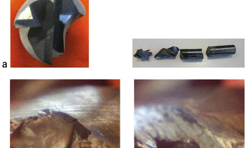 End mill burst images for machining tests with the coolant cutting fluid
